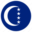 circular, country, flag, grande comore, world icon