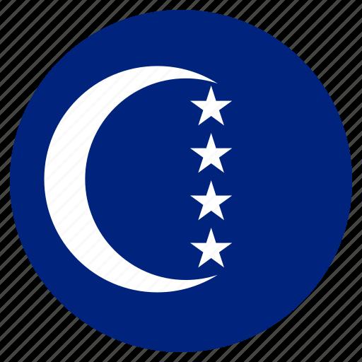 circular, country, flag, grande comore, world icon