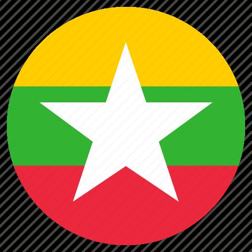 burma, circular, country, flag, world icon