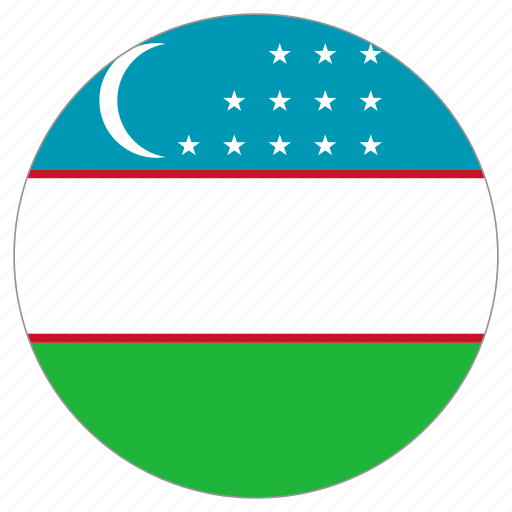 circular, country, flag, uzbekistan, world icon