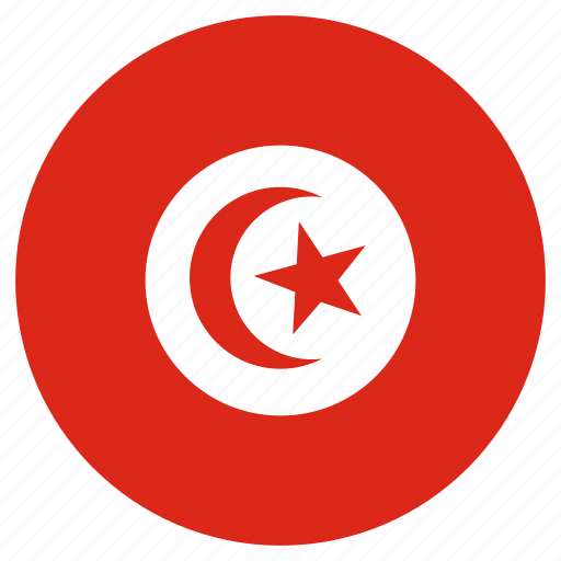 circular, country, flag, tunisia, world icon