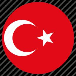 circular, country, flag, turkey, world icon