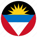 antigua and barbuda, circular, country, flag, world icon