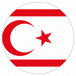 circular, country, flag, northern cyprus, world icon