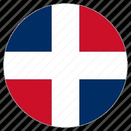 circular, country, dominikan republic, flag, world icon