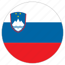 circular, country, flag, slovenia, world icon