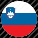 circular, country, flag, slovenia, world