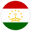 circular, country, flag, tajikistan, world icon