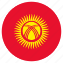 circular, country, flag, kyrgyzstan, world icon