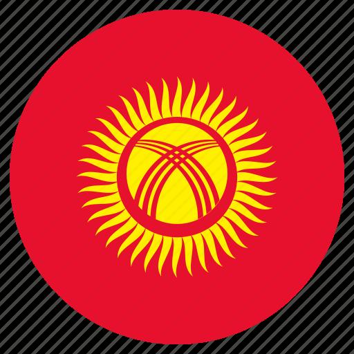 circular, country, flag, kyrgyzstan, world icon