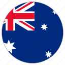 australia, circular, country, flag, world icon