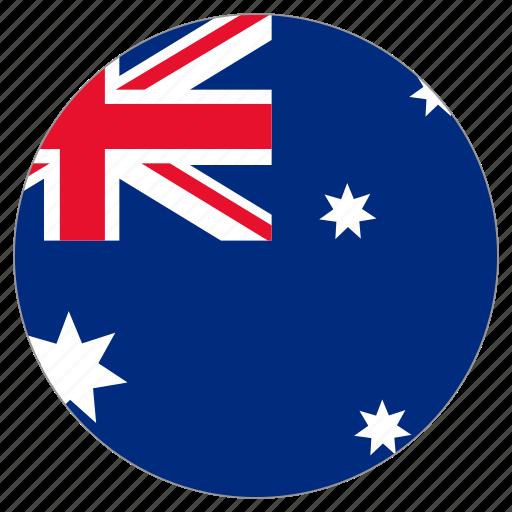 australia, circular, country, flag, world icon