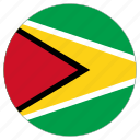 circular, country, flag, guyana, world icon