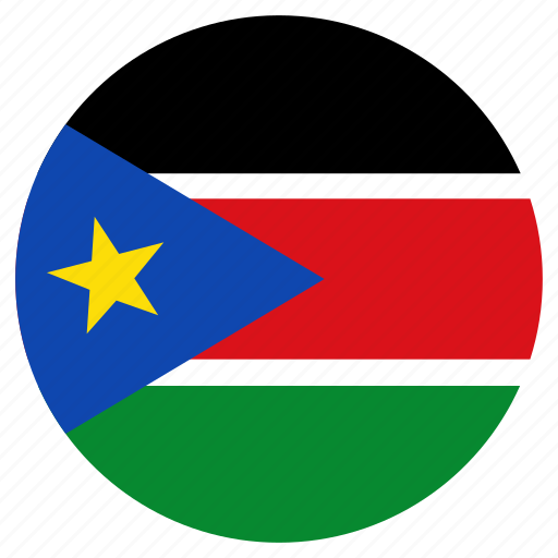 circular, country, flag, south sudan, world icon