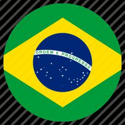 brazil, circular, country, flag, world icon