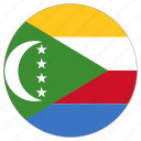 circle, comoros, country, flag icon