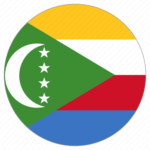 circle, comoros, country, flag icon