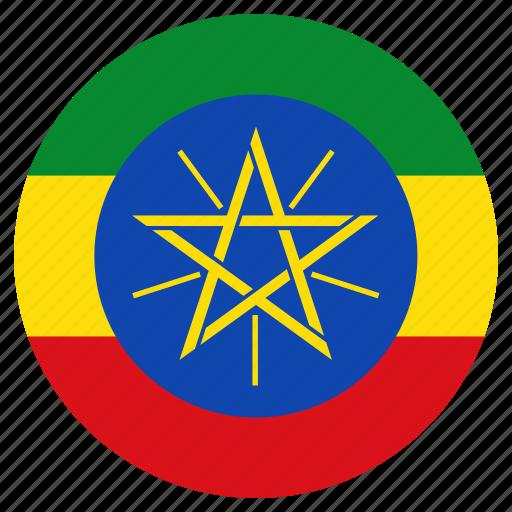 circle, country, ethiopia, flag icon