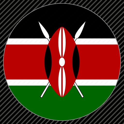 circle, country, flag, kenya icon