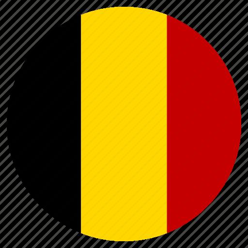 belgium, circle, country, flag icon