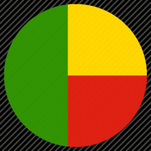 benin, circle, country, flag icon