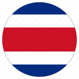 circle, costa rica, country, flag icon