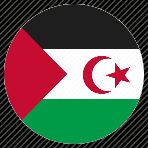 circle, country, flag, sahrawi arab democratic republic, world icon