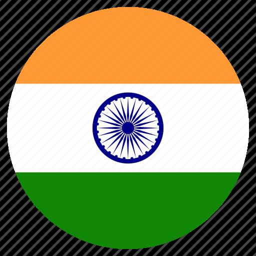 circle, country, flag, india, world icon