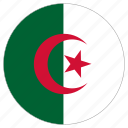 algeria, circle, country, flag, world icon
