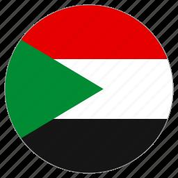 circle, country, flag, sudan, world icon