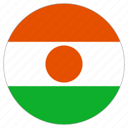 circle, country, flag, niger, world icon