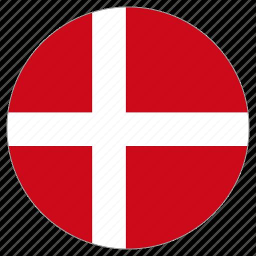 circle, country, denmark, flag, world icon
