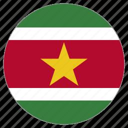 circle, country, flag, suriname, world icon