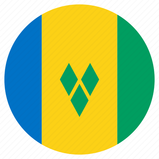 circle, country, flag, saint vincent and the grenadines, world icon