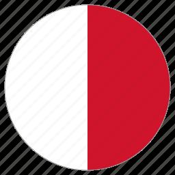 circle, country, flag, malta, world icon