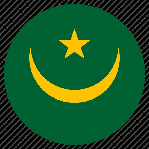 circular, country, flag, mauritania, world icon