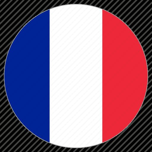 circular, country, flag, france, world icon
