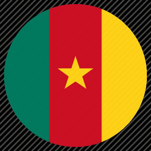 cameroon, circular, country, flag, world icon