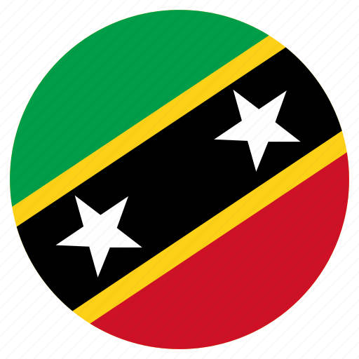 circular, country, flag, saint kitts and nevis, world icon