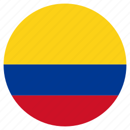 circular, colombia, country, flag, world icon
