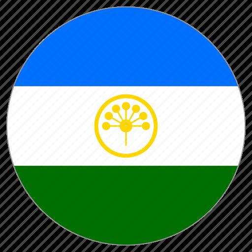 bashkortostan, circular, country, flag, world icon