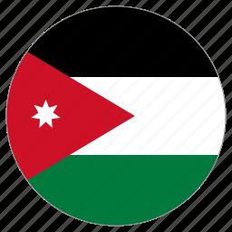 circular, country, flag, jordan, world icon