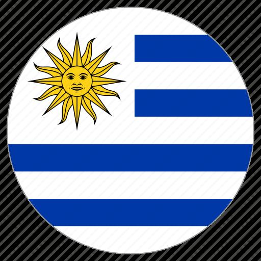 circular, flag, uruguay, world icon