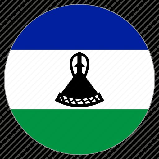 circular, flag, lesotho, world icon