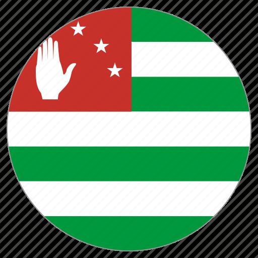 abkhazia, circular, flag, world icon