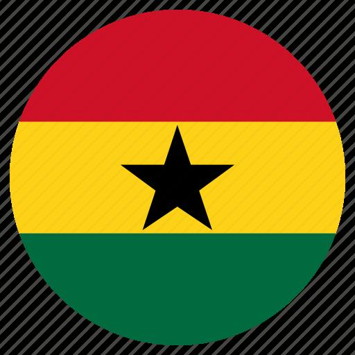 circular, flag, ghana, world icon