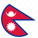 circular, flag, nepal, world icon