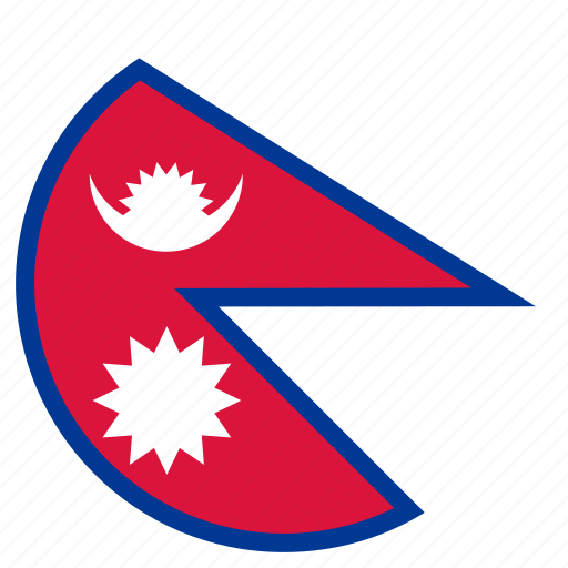 circular, flag, nepal, world icon
