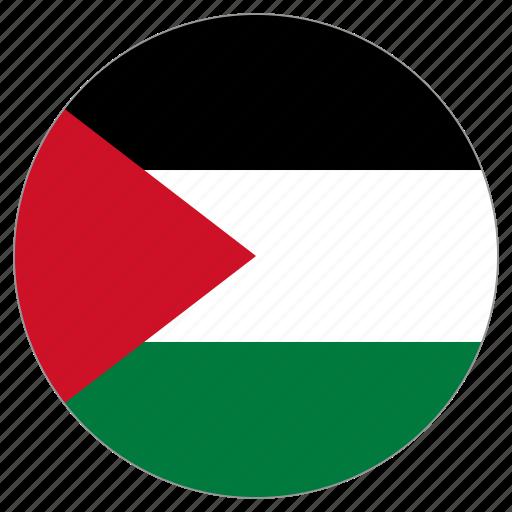 circular, flag, palestine, world icon