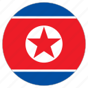 circular, flag, north korea, world icon